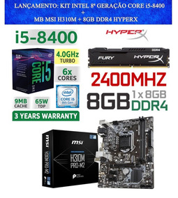 Kit Intel 8ª Geração Proc I5 8400 + B360m-hdv + 8 Gb 2400mhz
