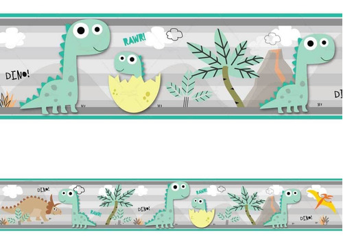 Imagem 1 de 2 de 2 Faixa Adesivo De Parede Borda Decorativo Dinossauro Nome