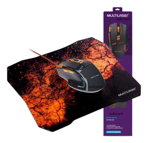 Combo Promocional Mouse + Mouse Pad Gamer Multilaser 3600dpi Usb Com Função Fire Power Garantia 3 Anos Para Pc E Games
