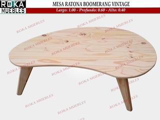 Mesa Ratona Escandinava Boomerang Nordica Retro Vintage Roka