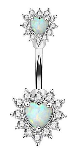 Piercing Ombligo Corazón Centro Opal  Piercing Argentina ®