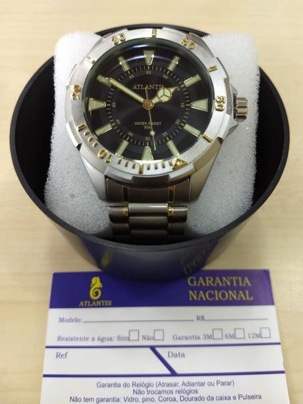 Relógio Original Atlantis Estilo Technos Prata Masculino