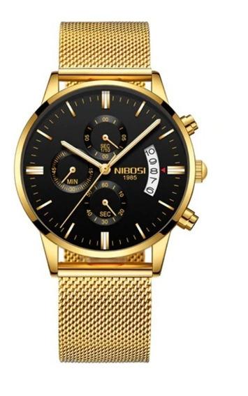 Relógio Masculino Original Nibosi Blindado Aço Promoção Top