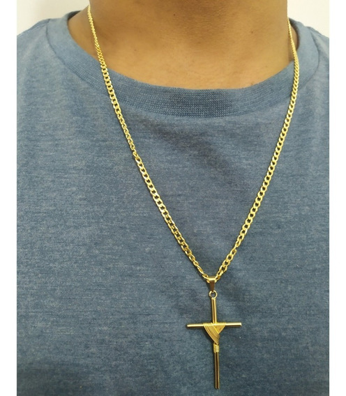 Cordão Grumet Com Crucifixo Folheado A Ouro 18k Oferta