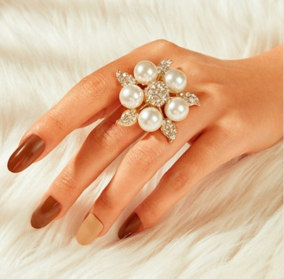 Anillo Forma De Estrella Con Perlas Zirconias Envio Grati