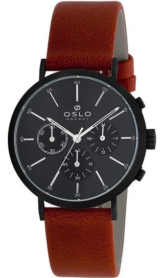 Relógio Masculino Preto Fosco Oslo Cronógrafo Pulseira Couro