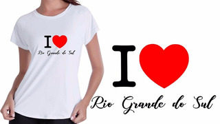 Camisa Camiseta Baby Look Branca Eu Amo Rio Grande Do Sul