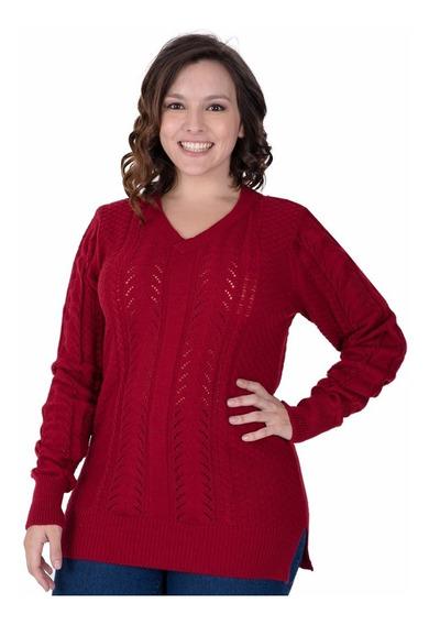 Sweater Portofem C/ Trenzas Y Escote V Talles Grandes