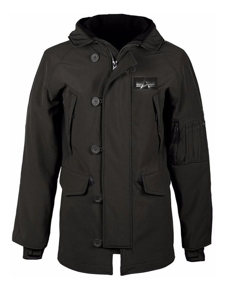 Campera Alpha Industries N-3b Softshell Original Negro/verde