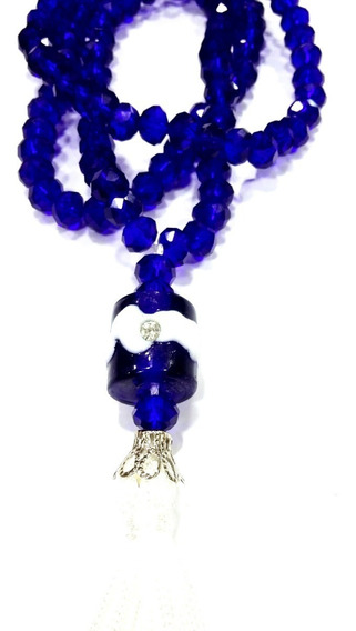Colar Japamala 108 Cristais Swaroviski Azul Marinho C/brilho