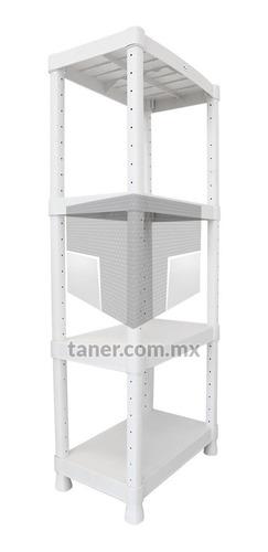 Estante De Plástico Blanco De 4 Repisas Multiusos
