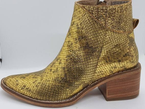 Bota Caña Media Dorada Snake Bulwark Zapato Mujer