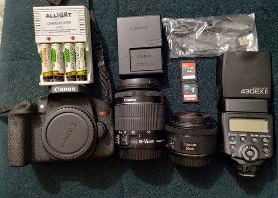 Kit Canon T6i + 18-55mm + 50mm + Flash +mochila + Acessórios