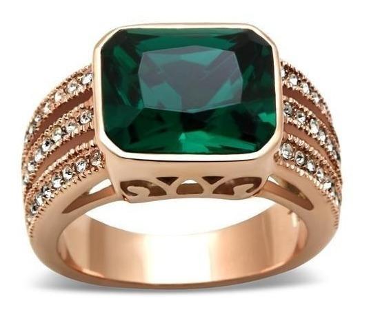 Anel Formatura Folheado A Ouro Rose Verde Esmeralda Luxo