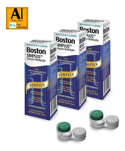 Solução Para Lentes Rígidas  Boston Simplus 120ml 03 Caixas
