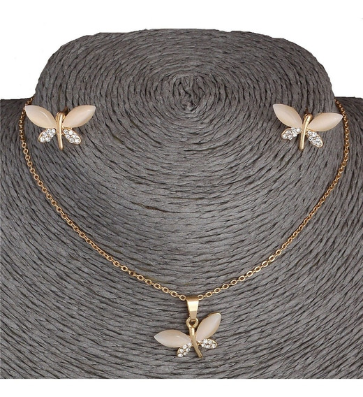 Collar Con Aretes Tipo Mariposa Piedra Natural De Ópalo Orig