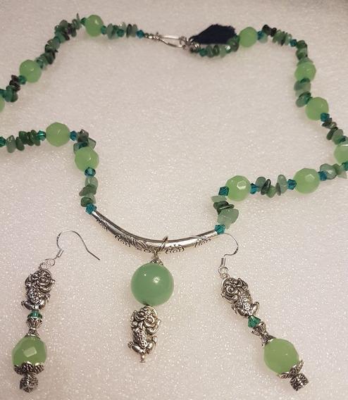Conjunto De Pedra Quartzo De Cristal Verde E Prata