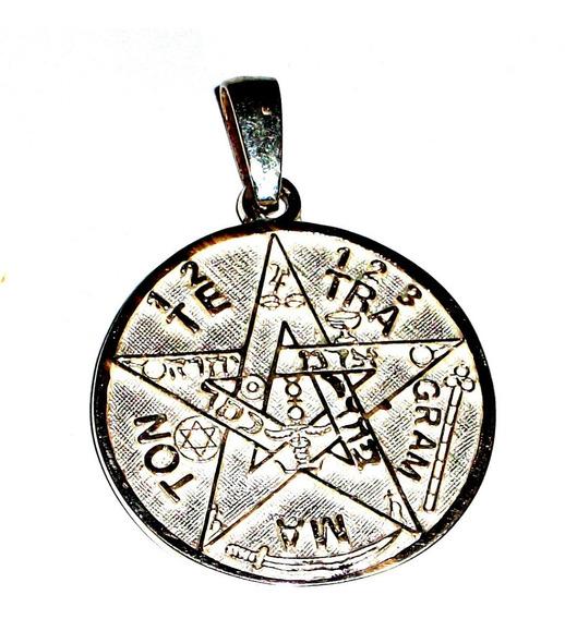 Medalla Dije Tetragramaton Pentagrama En Plata Ley.925