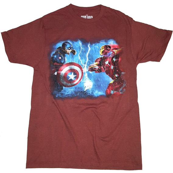 Remera Capitan America Vs Iron Man Civil War Importada Nueva