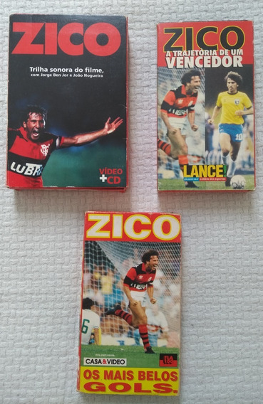 As# 3 Fitas De Video Vhs Do Zico, Flamengo, Futebol