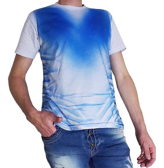 Camisa Camiseta Branca Com Azul Exclusiva Ótimo Caimento