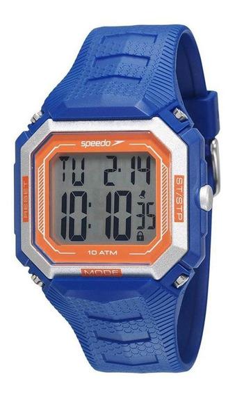 Relógio Masculino Digital Quadrado Azul E Laranja Esportivo