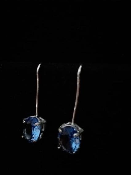 Brinco Pino Pedra Azul Banho Prata