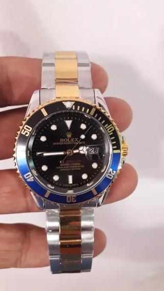Relógio Masculino Submariner Misto Azul E Preto + Ft Grátis!