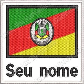 Patch Bordad Bandeira Rio Grande Do Sul Seu Nome 9x9cm Esp45