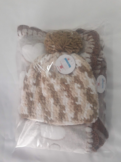 Manta Soft Bebê Maternidade - Kit 2 Peças(manta/gorro)