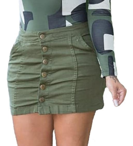 Saia Jeans Feminina Cintura Alta 6 Botões Frontal Blogueiras