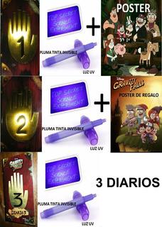 Posters + Diario 1 + 2 + 3 Gravity Falls + 3pluma Con Luz Uv