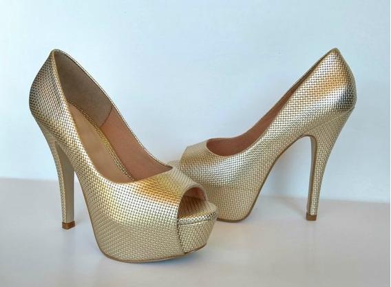 Sapato Peep Toe Dourado Feminino Meia Pata Salto Alto Aberto