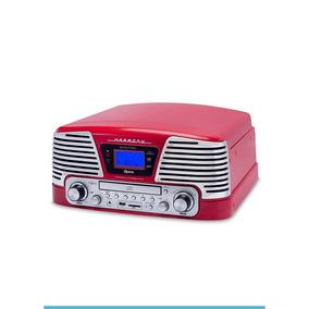 Vitrola Toca Discos Raveo Harmony Vermelho Rádio Cd Usb