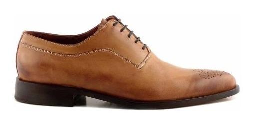 Zapato Cuero Briganti Hombre Vestir Flor Picado - Hcac00907