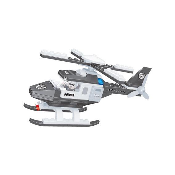 Brinquedo P/ Montar - Helicóptero Policial - 80 Peças