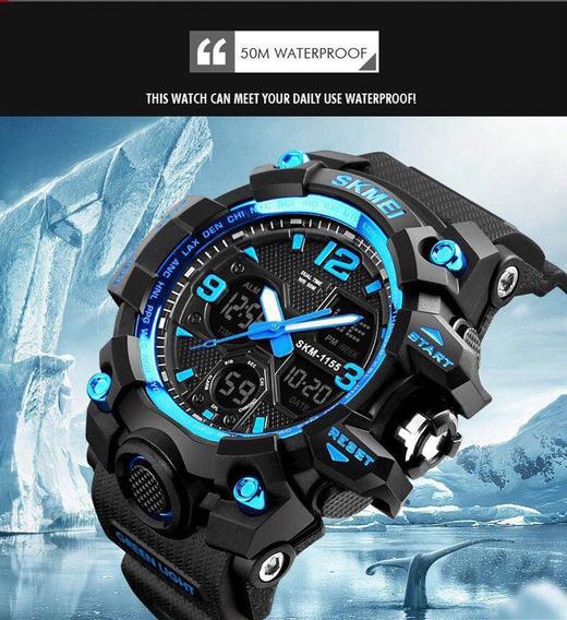 Relógio Masculino Skmei 1155 Preto Com Azul