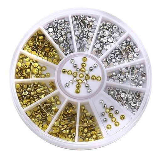 210 Pçs Mix Prata E Dourado Pulceira Nail Art Strass N16
