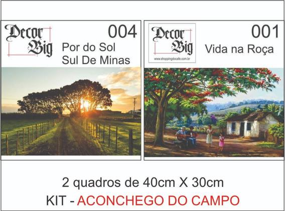 2 Quadros Decorativos Médio 40x30cm Paisagem Fazenda Sol