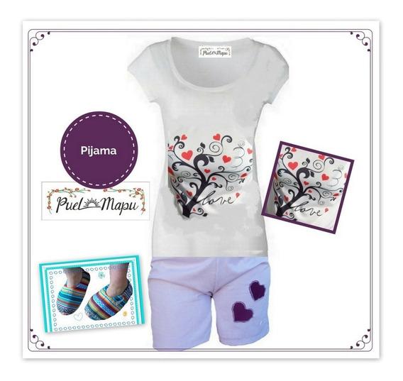 Pijama De Mujer De Verano Con Pantuflas