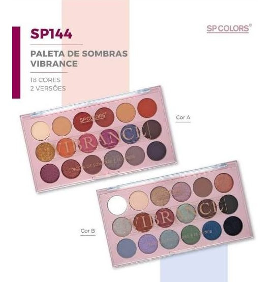 Kit 12 Paletas Sombras Vibrance Sp Colors 18 Cores 2 Tipos