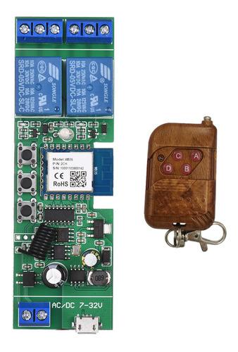 Imagen 1 de 9 de Tuya 2ch Dc5v/7-32v Wifi Interruptor Inalámbrico Relé Módulo