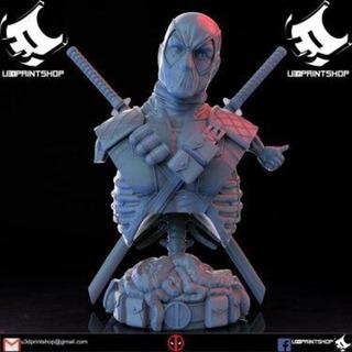 Busto Deadpool Espadas Atravesada - Stl - Para Impresión 3d