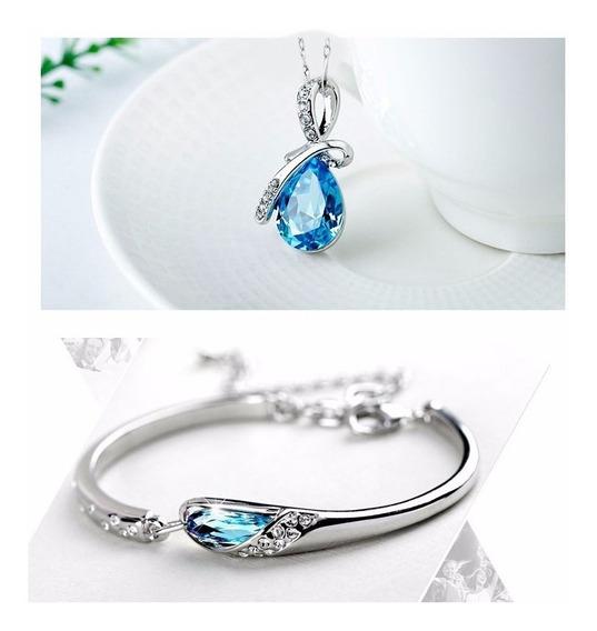 Colar E Pulseira Feminina Cristal Azul Presente De Natal