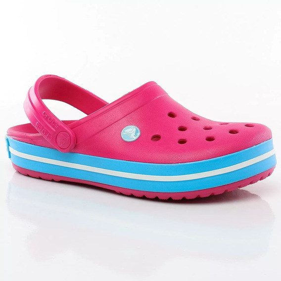 Crocs Crocband Fucsia Celeste Mujer Candy Pink Bluebell