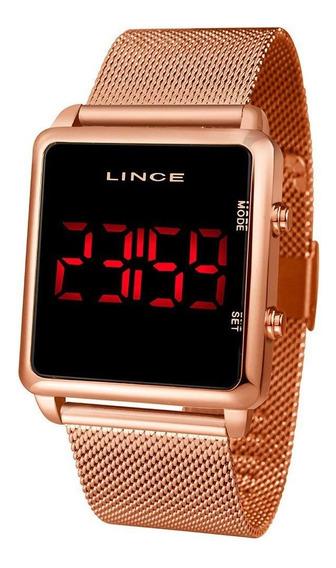 Relógio Feminino Lince Led Rosê Mdr4596l-pxrx