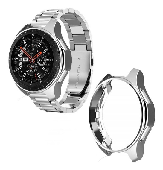 Combo Correa Eslabones + Case+mica Silver Galaxy Watch 46 Mm
