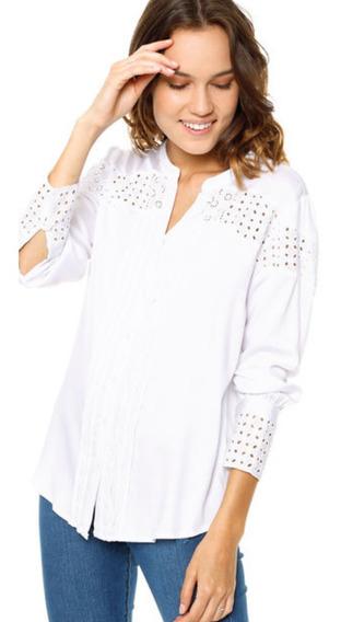 Camisa Blanca Bordada De Mujer Ted Bodin