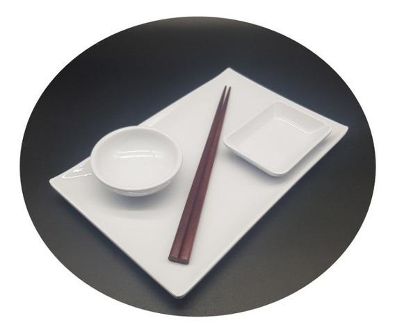 Set Para Sushi Melamina Blanco 3 Piezas Plato + 2 Dips Soja