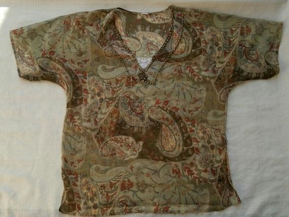 Blusa Camisa Transparente Bordado Y Puntilla